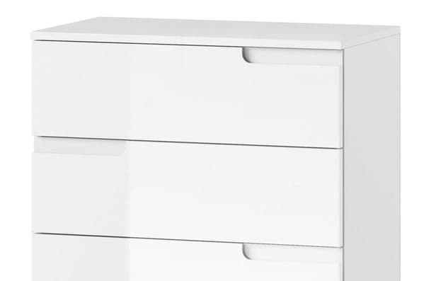Cellini White High Gloss Narrow Chest of Drawers S2